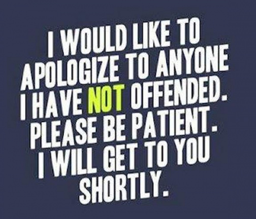 Apologize to anyone I have not offended