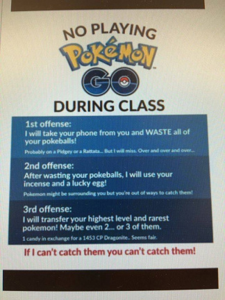 No Pokemon GO during class