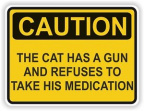 Caution cat has a gun
