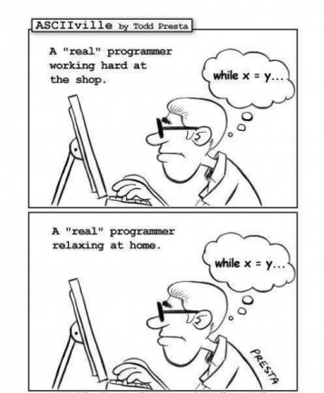 Real programmer working vs relaxing