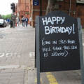 Spooky happy birthday sign