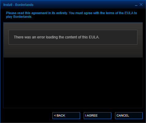 EULA cannot be loaded (Steam)